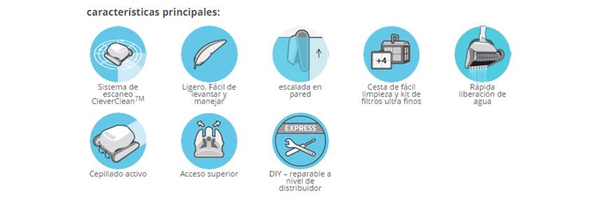 Características Limpiafondos Dolphin Energy 200